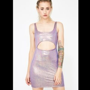 Holographic cutout front body-con dress